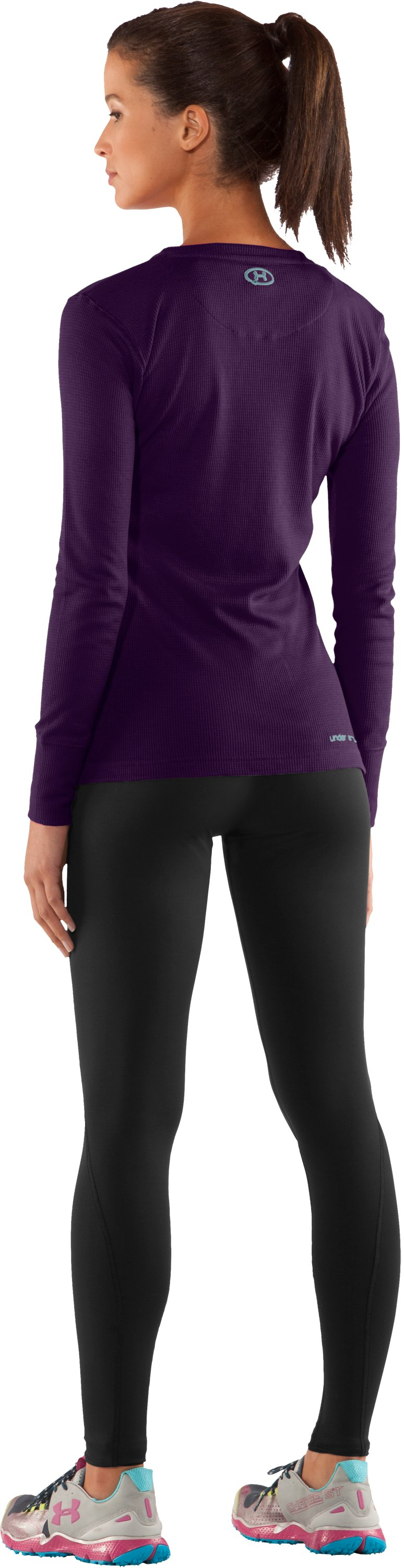 Women's Waffle Long Sleeve Crew Neck, Cyclone, Back
