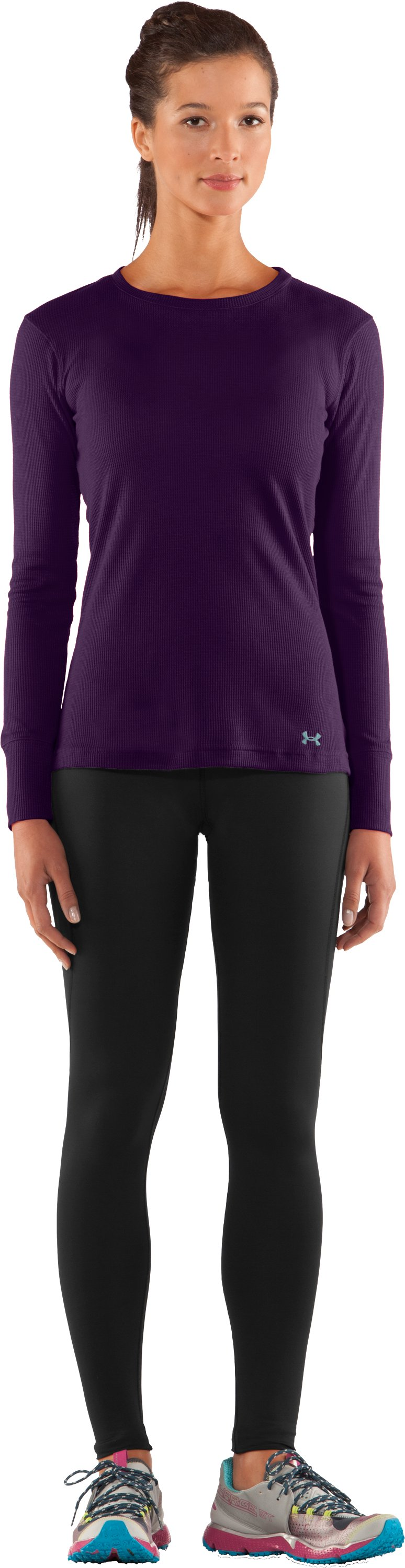 Women's Waffle Long Sleeve Crew Neck, Cyclone, zoomed image