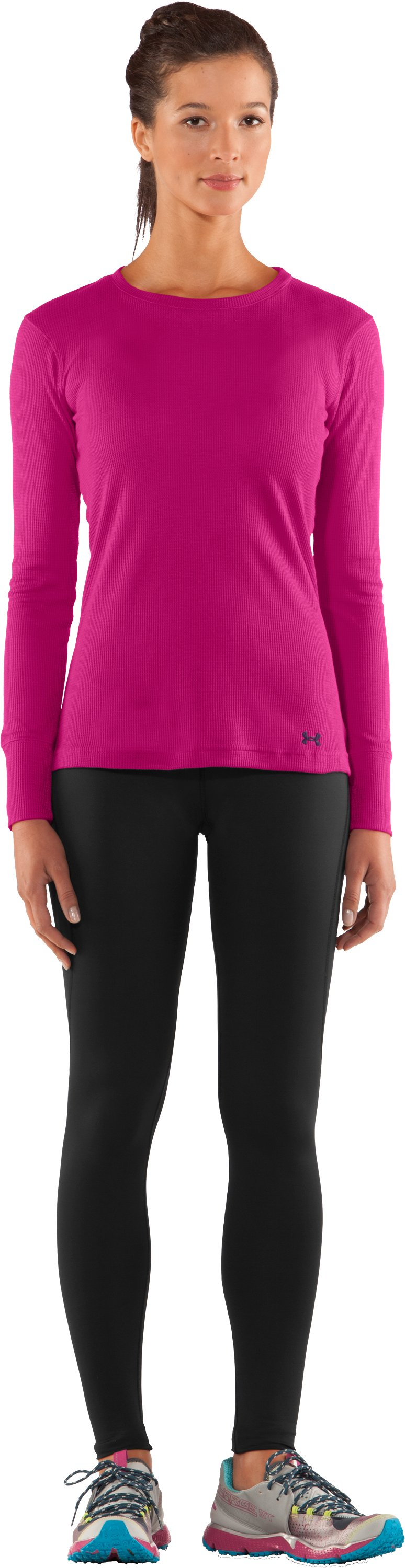 Women's Waffle Long Sleeve Crew Neck, Honeysuckle, Front
