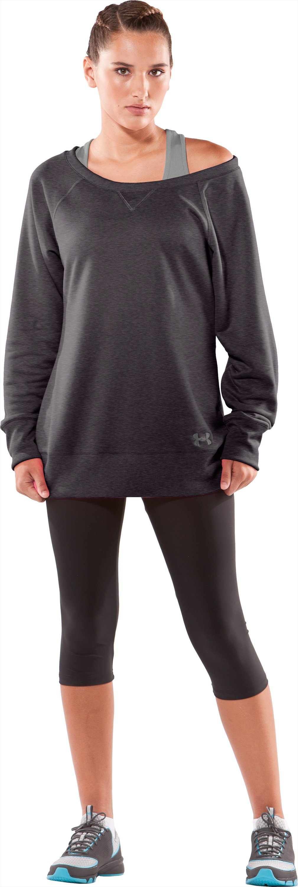 Women's Varsity Sweatshirt, Carbon Heather, Front