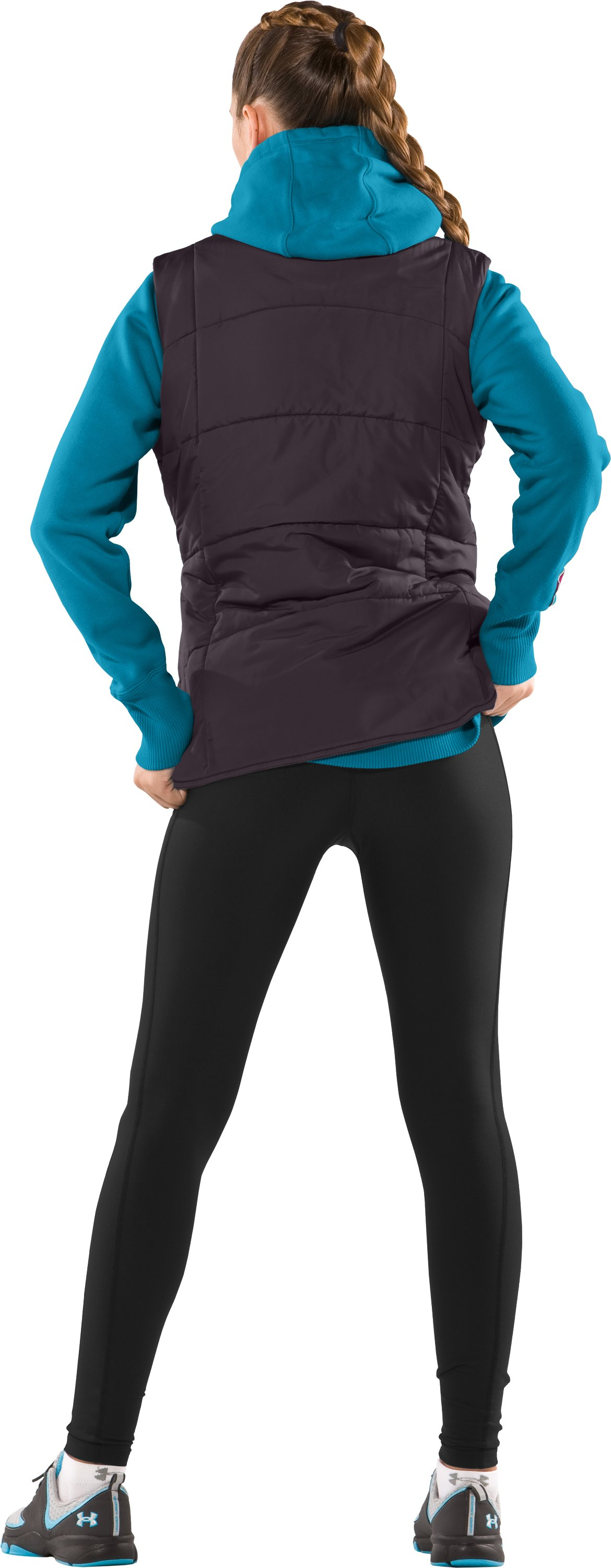 Women's ArmourChill® Dual Pocket Vest, Charcoal, Back