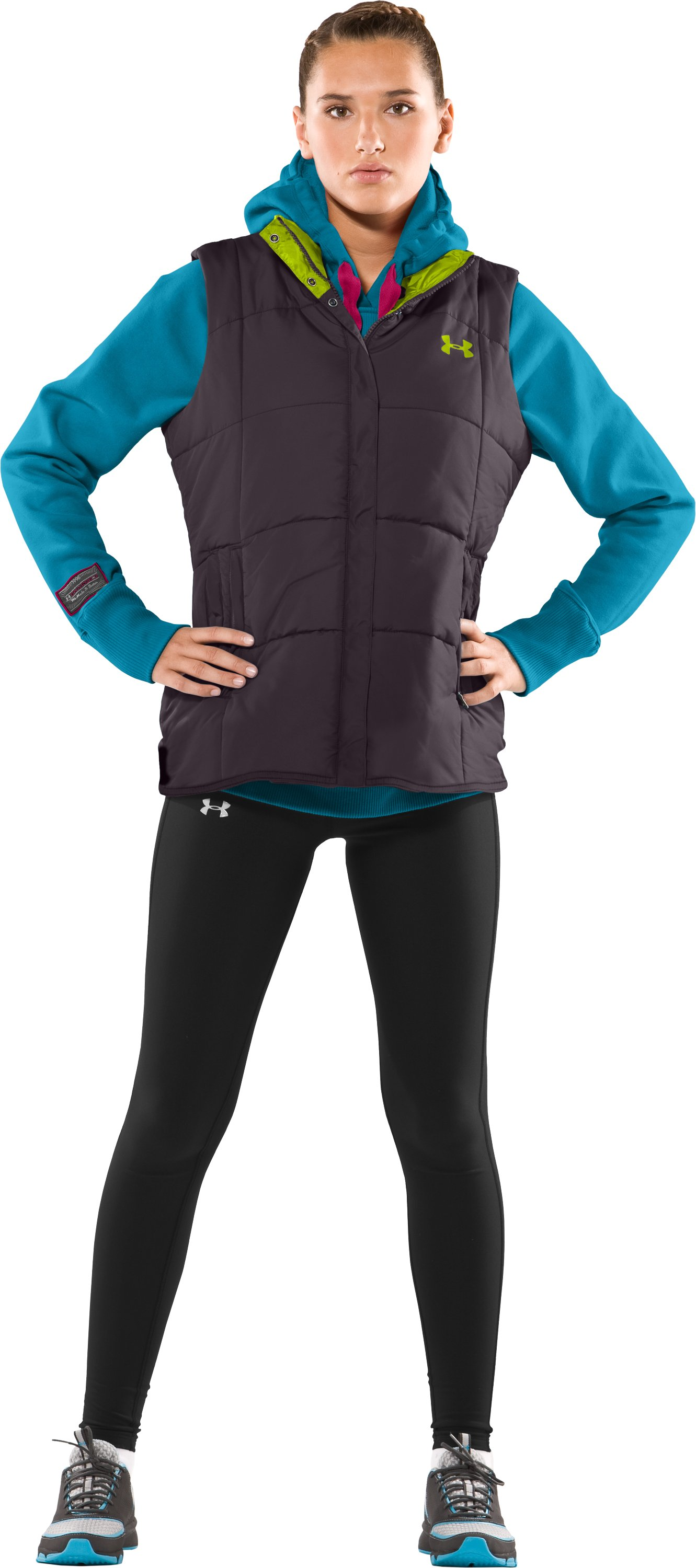 Women's ArmourChill® Dual Pocket Vest, Charcoal, Front