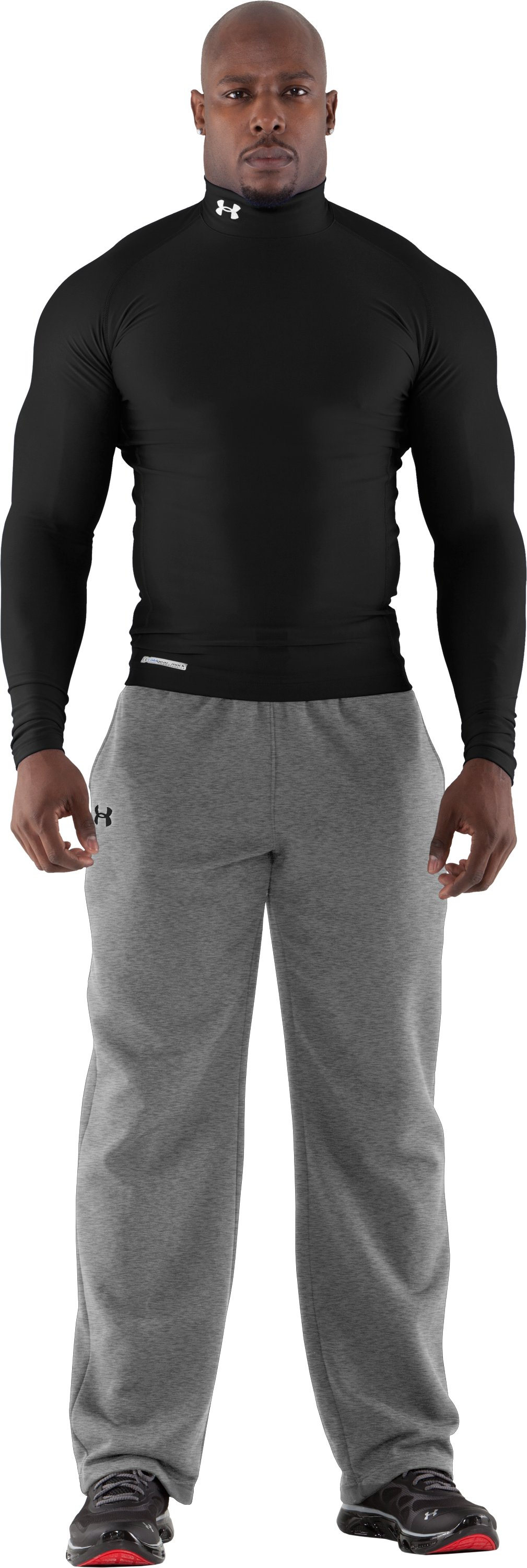 Men's ColdGear® Evo Long Sleeve Compression Mock, Black , Front