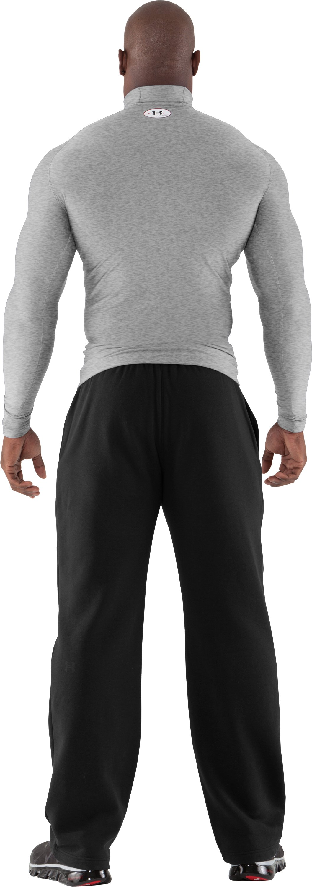 Men's ColdGear® Evo Long Sleeve Compression Mock, True Gray Heather, Back