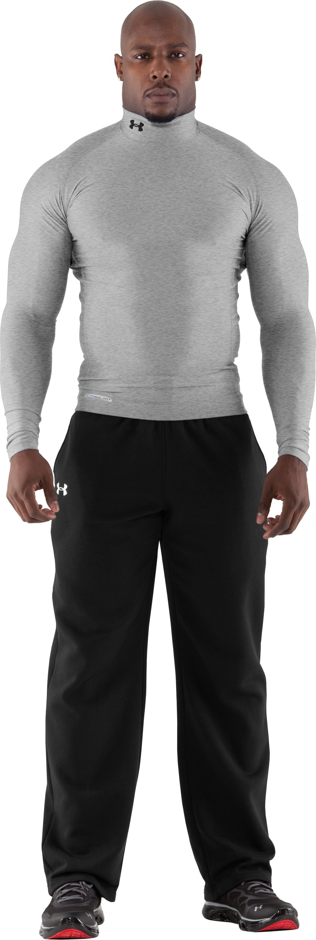 Men's ColdGear® Evo Long Sleeve Compression Mock, True Gray Heather, Front