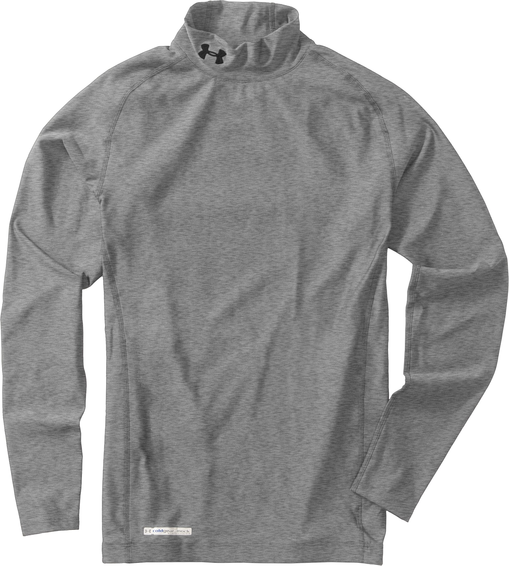 Men's ColdGear® Evo Long Sleeve Compression Mock, True Gray Heather, Laydown