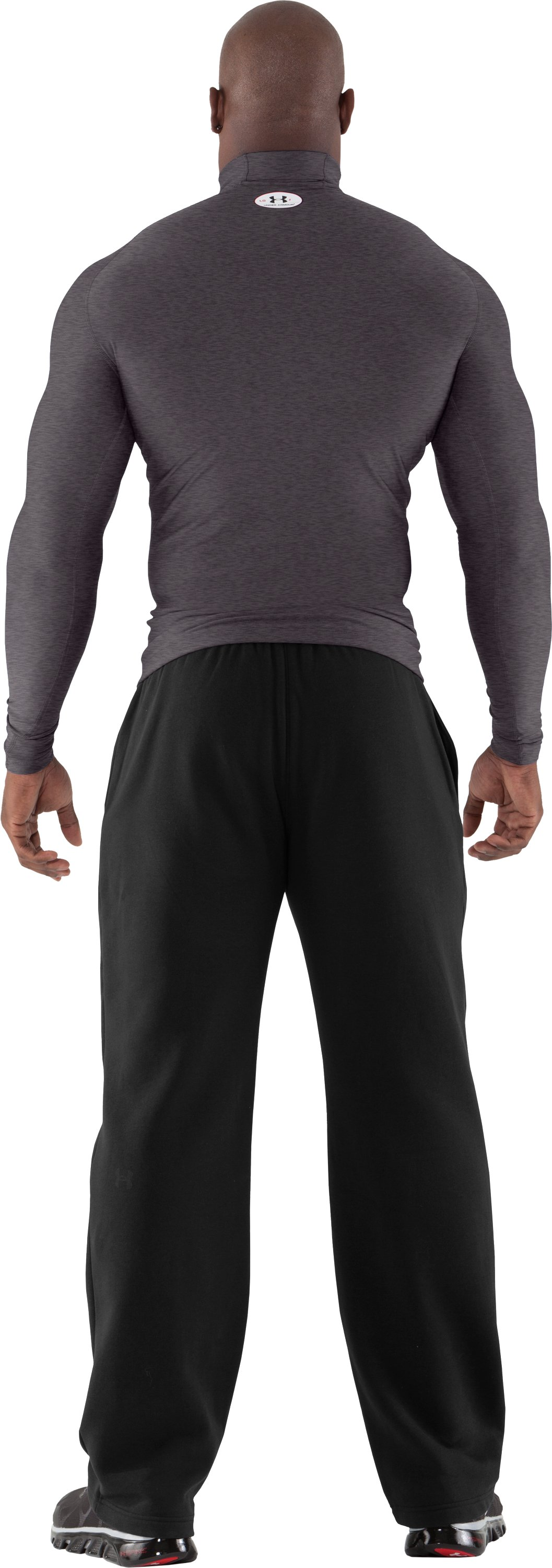 Men's ColdGear® Evo Long Sleeve Compression Mock, Carbon Heather, Back