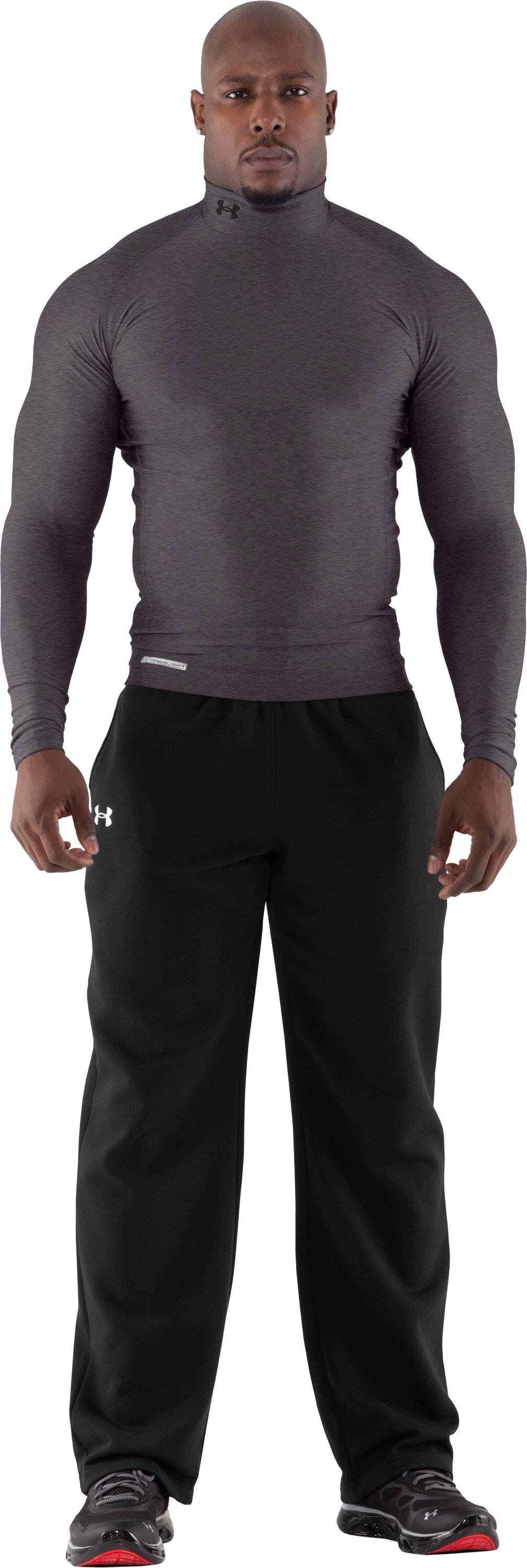 Men's ColdGear® Evo Long Sleeve Compression Mock, Carbon Heather, Front
