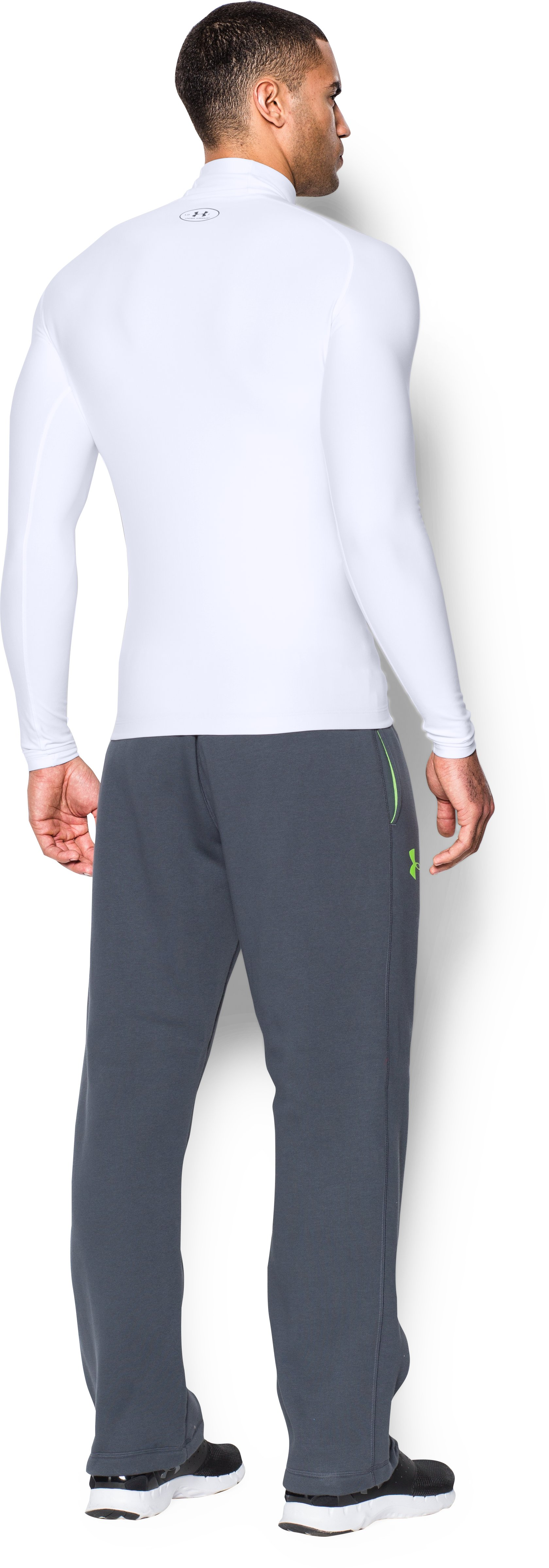 Men's ColdGear® Evo Long Sleeve Compression Mock, White, Back