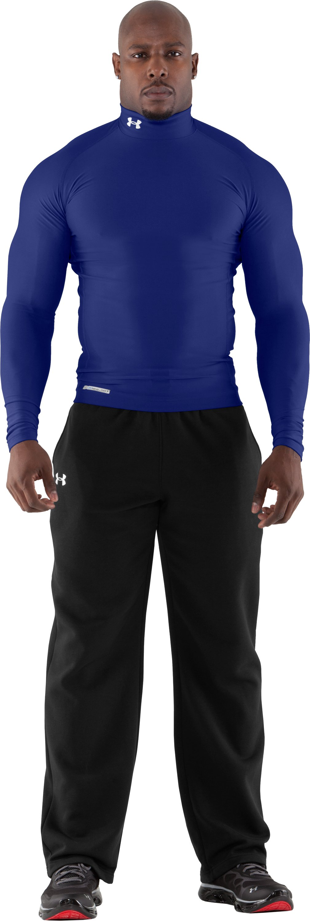Men's ColdGear® Evo Long Sleeve Compression Mock, Royal, Front