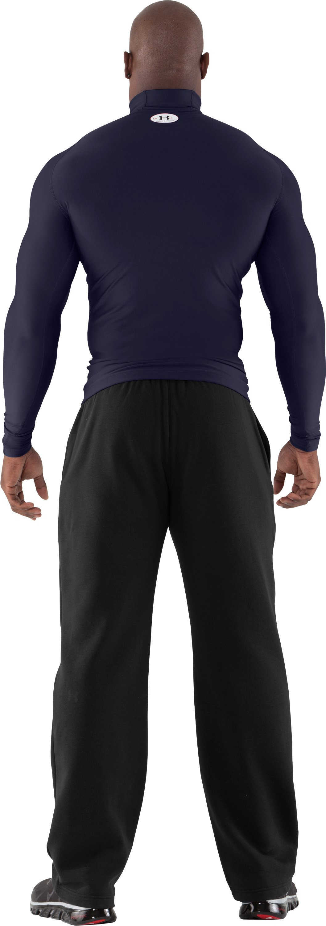 Men's ColdGear® Evo Long Sleeve Compression Mock, Midnight Navy, Back