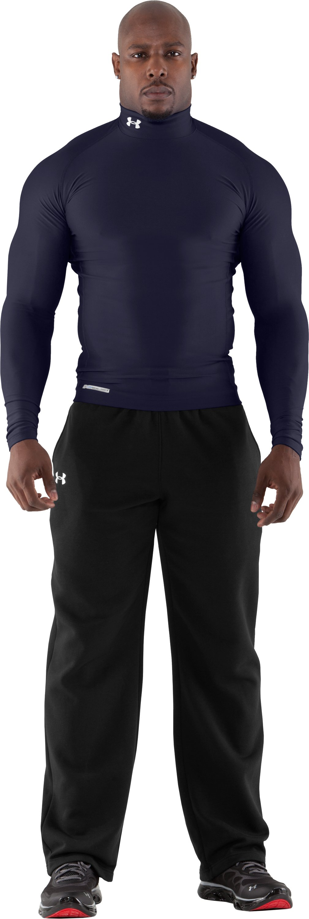 Men's ColdGear® Evo Long Sleeve Compression Mock, Midnight Navy, Front