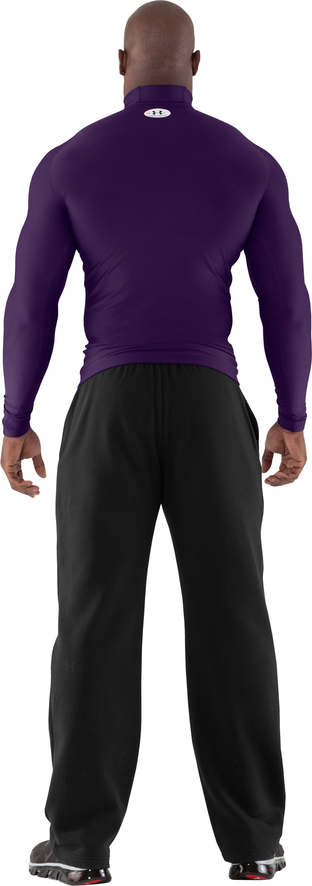 Men's ColdGear® Evo Long Sleeve Compression Mock, Purple, Back