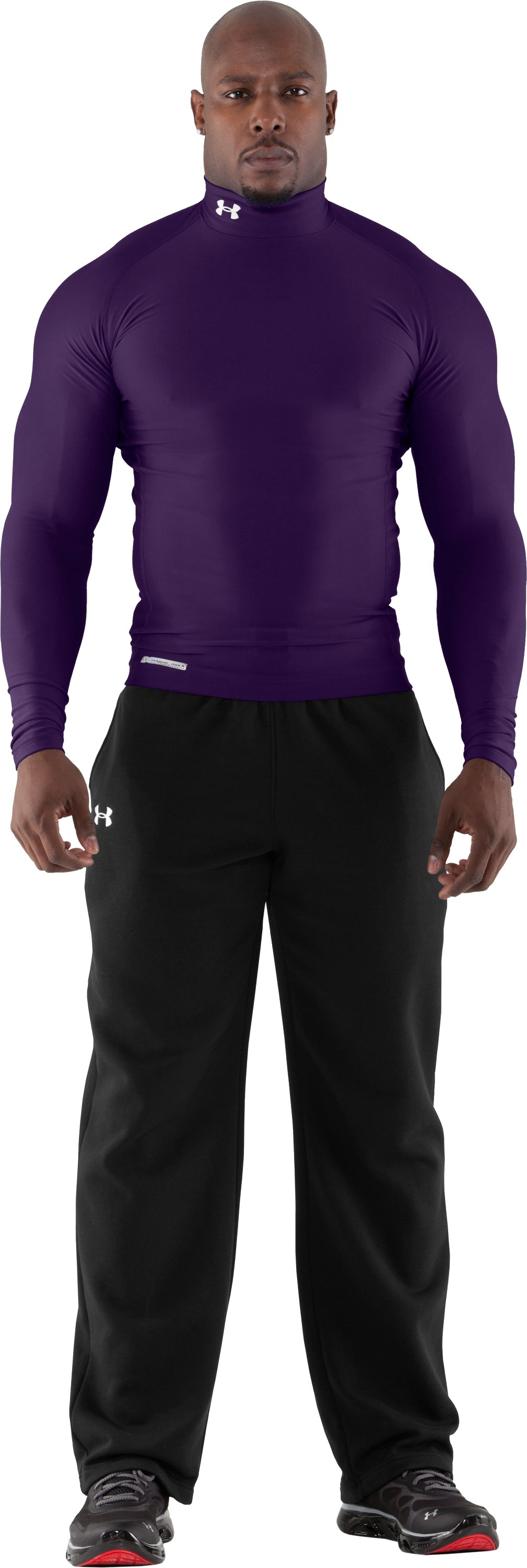 Men's ColdGear® Evo Long Sleeve Compression Mock, Purple, Front