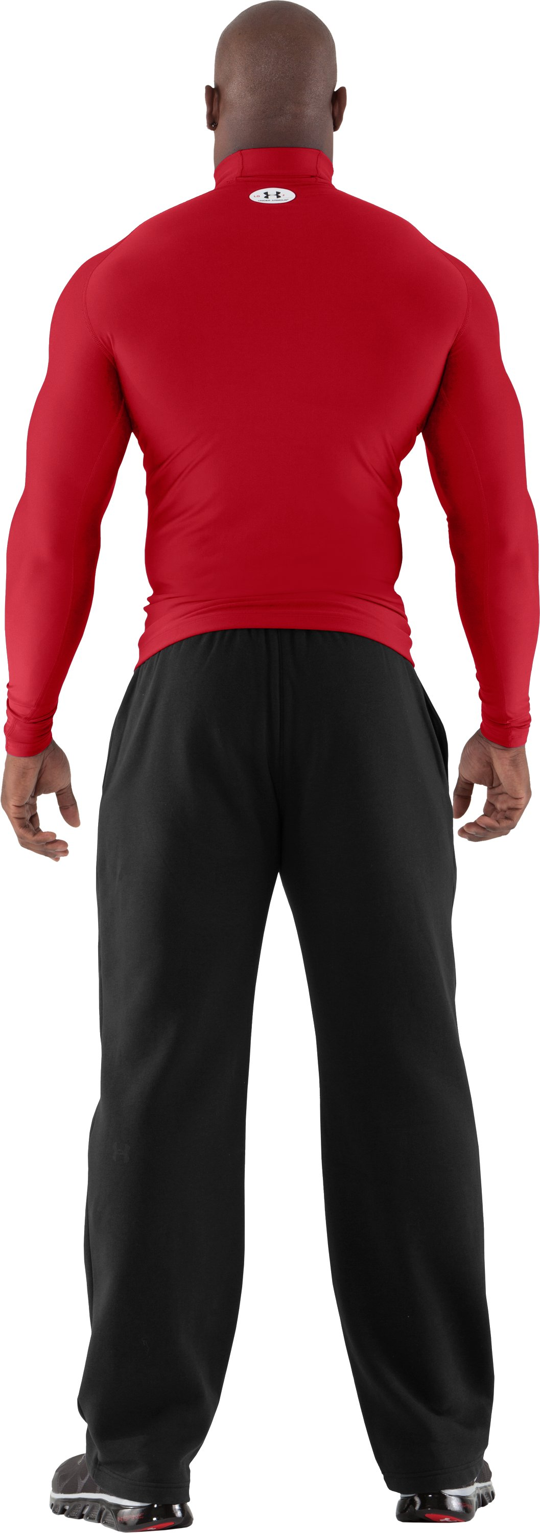Men's ColdGear® Evo Long Sleeve Compression Mock, Red, Back