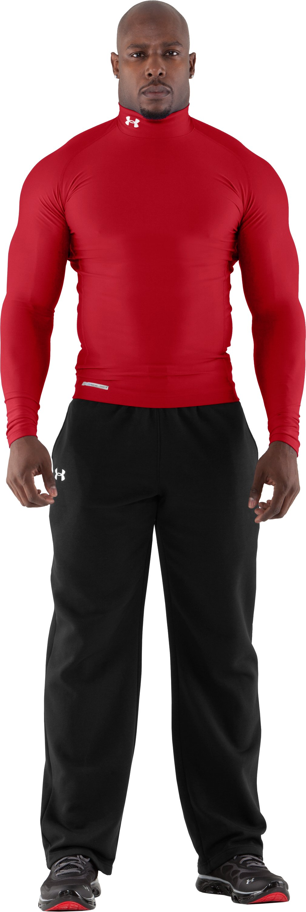 Men's ColdGear® Evo Long Sleeve Compression Mock, Red, Front