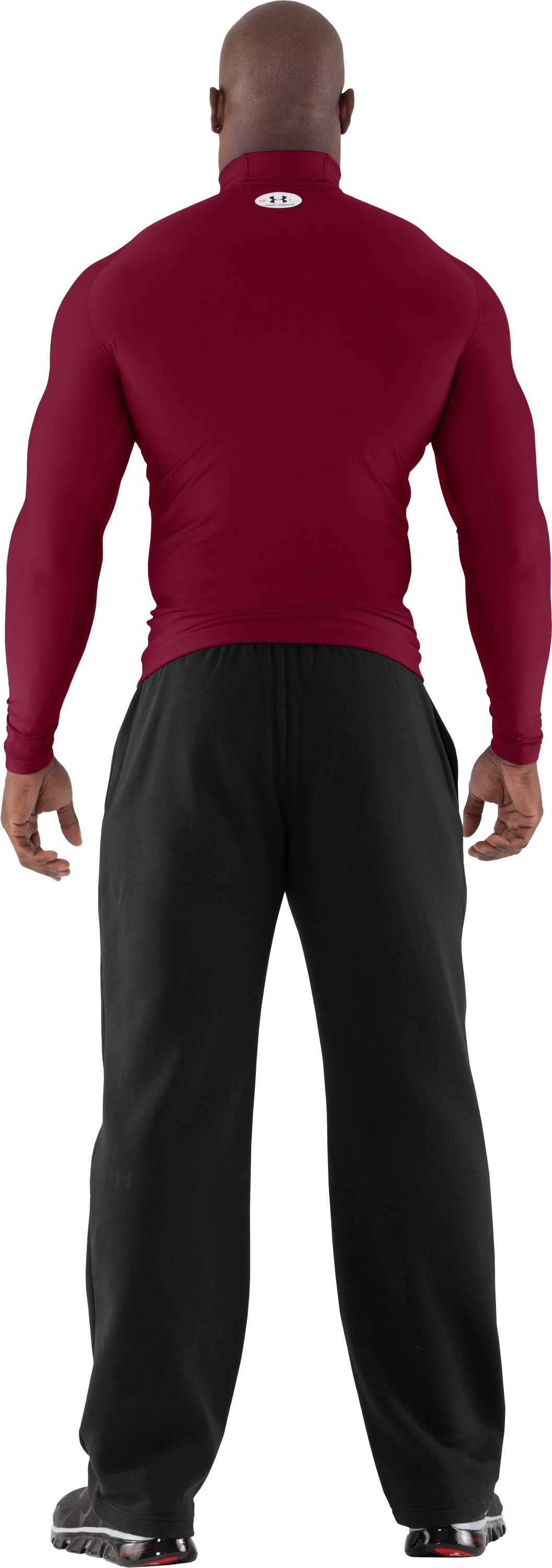 Men's ColdGear® Evo Long Sleeve Compression Mock, Maroon, Back