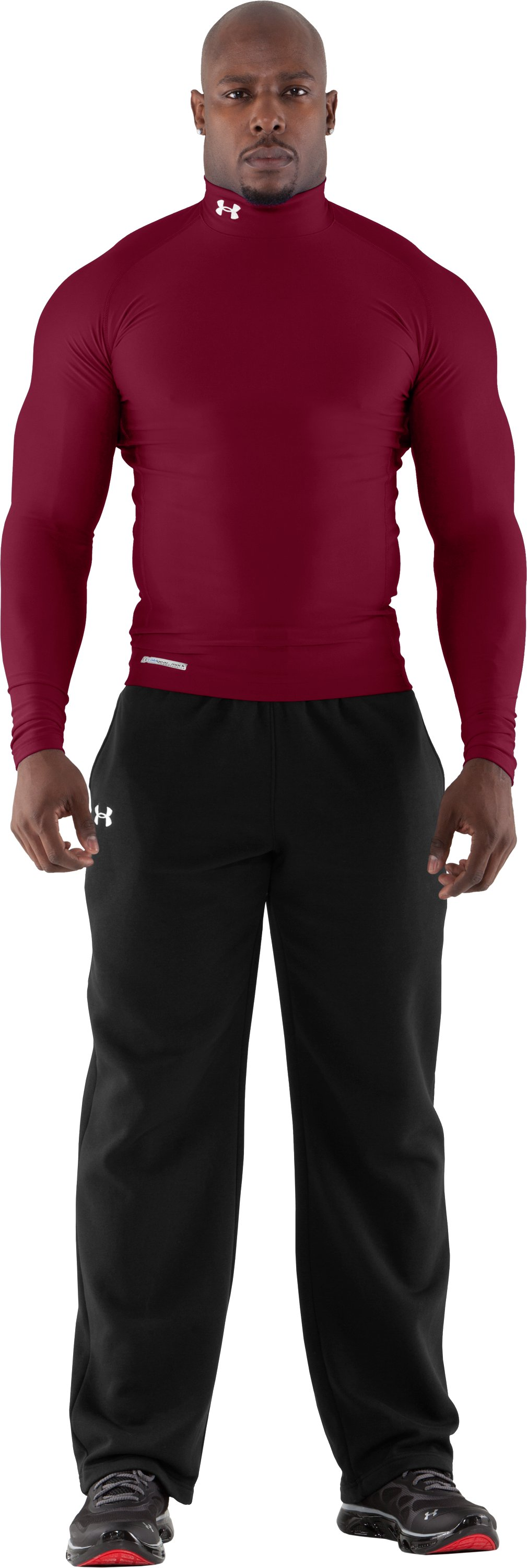 Men's ColdGear® Evo Long Sleeve Compression Mock, Maroon