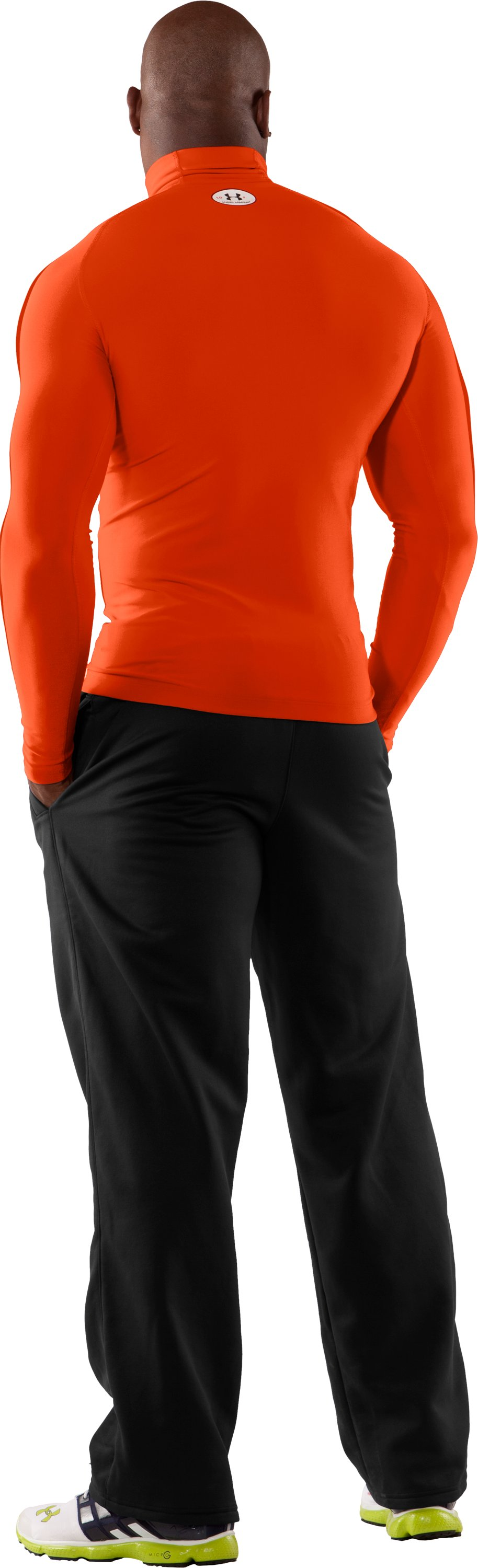 Men's ColdGear® Evo Long Sleeve Compression Mock, Dark Orange, Back