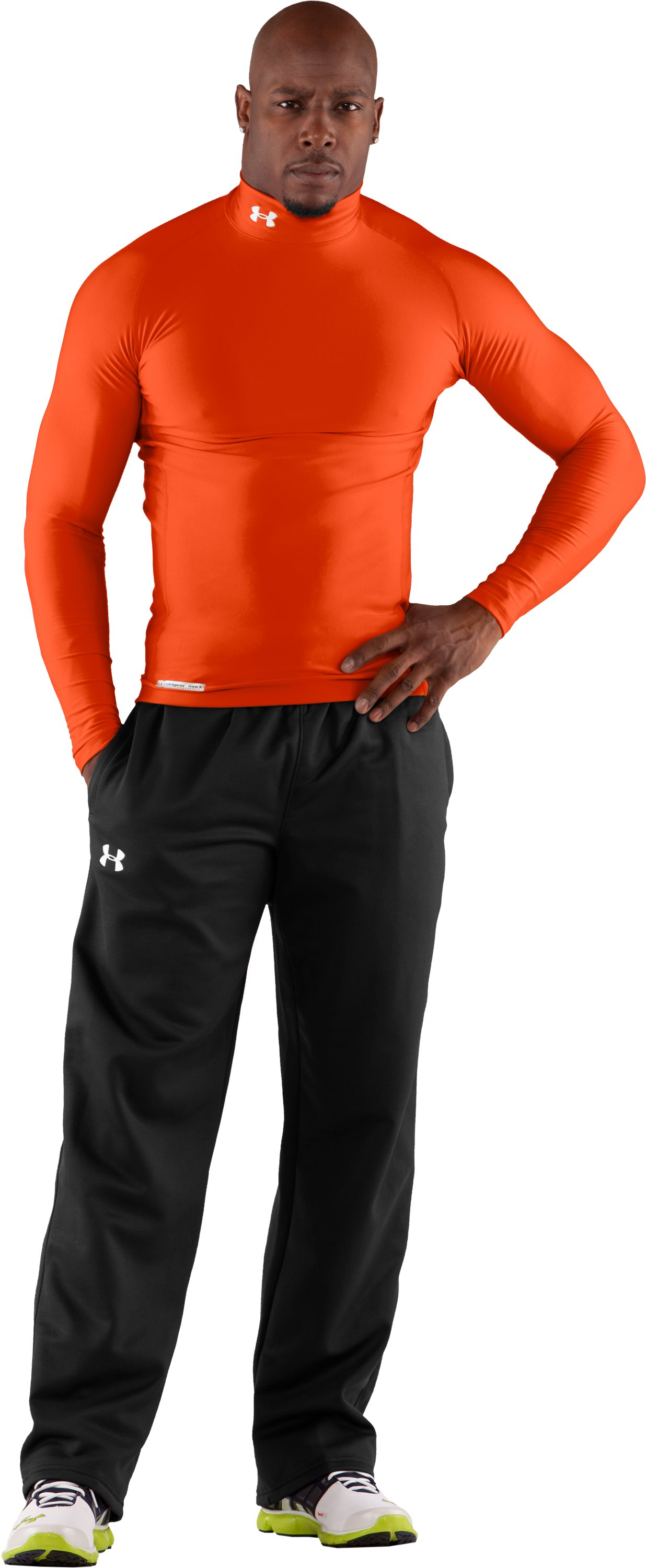 Men's ColdGear® Evo Long Sleeve Compression Mock, Dark Orange, Front