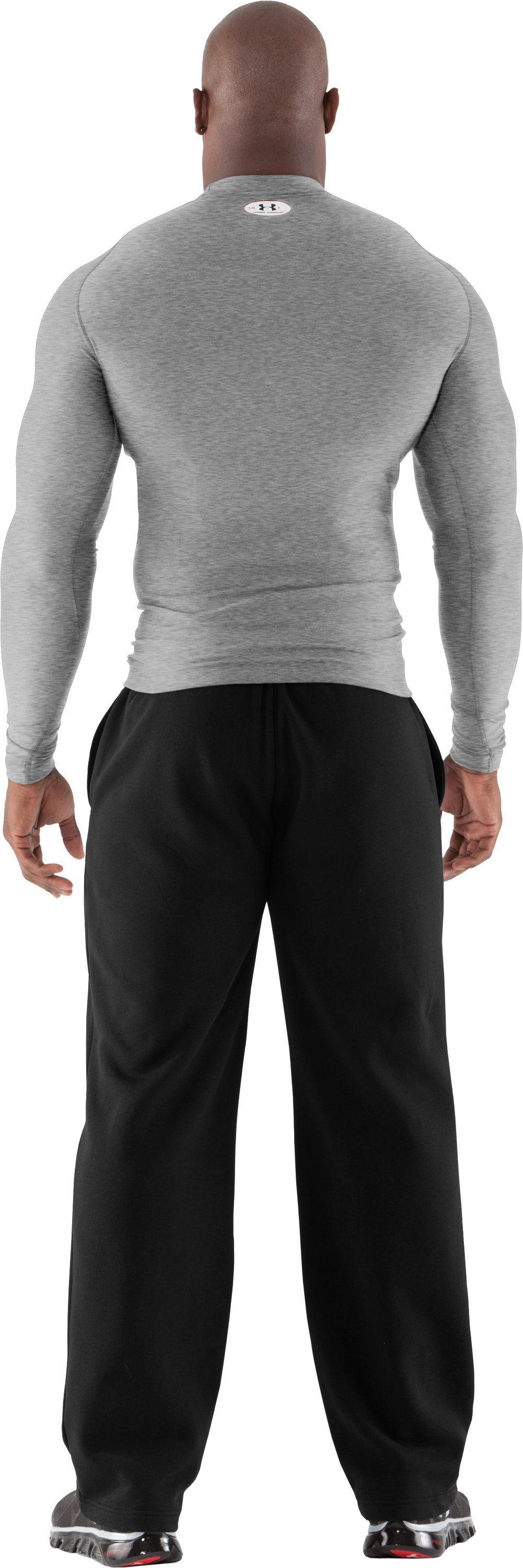 Men's ColdGear® Long Sleeve Compression Crew, True Gray Heather, Back