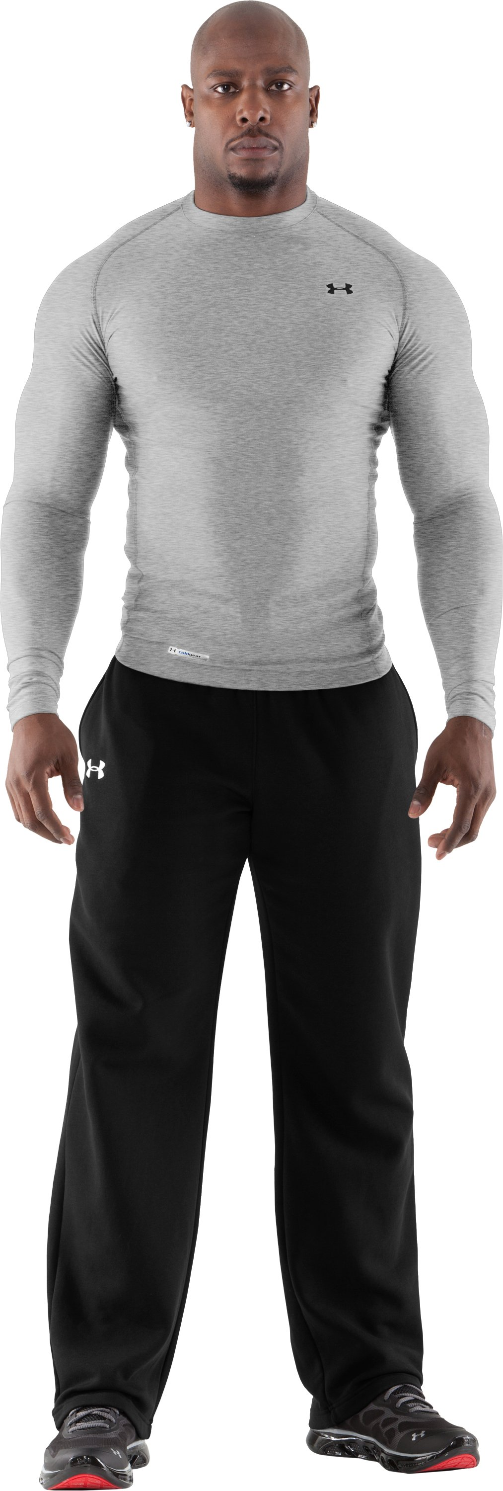Men's ColdGear® Long Sleeve Compression Crew, True Gray Heather, Front