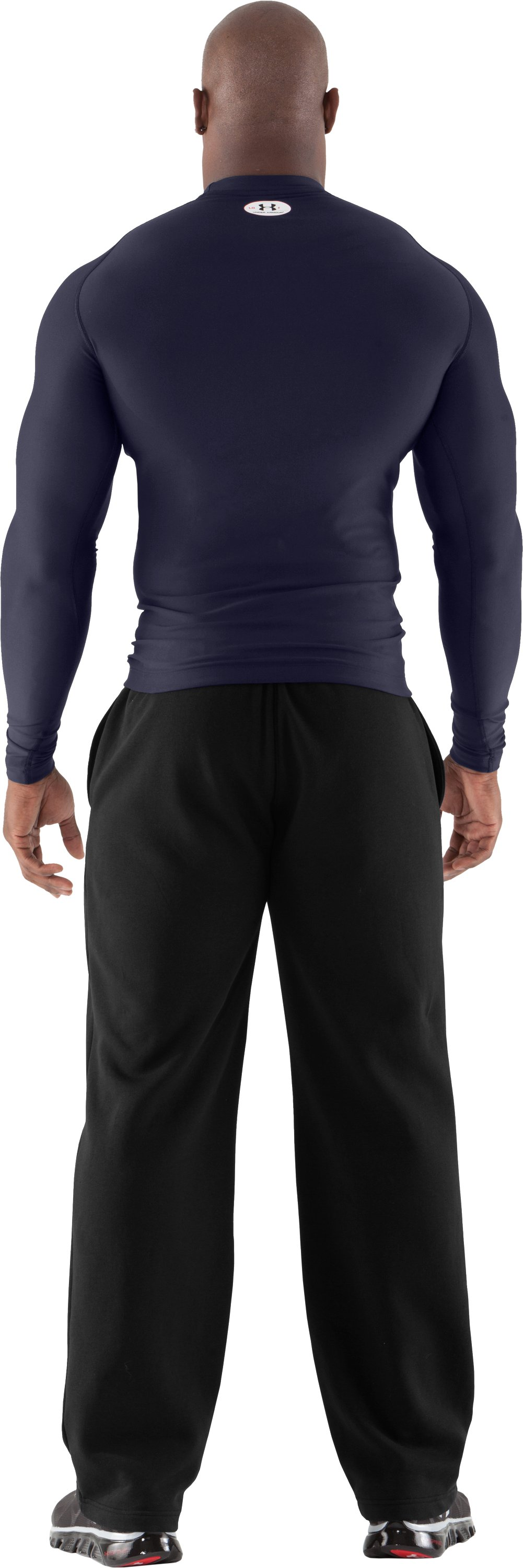 Men's ColdGear® Long Sleeve Compression Crew, Midnight Navy, Back