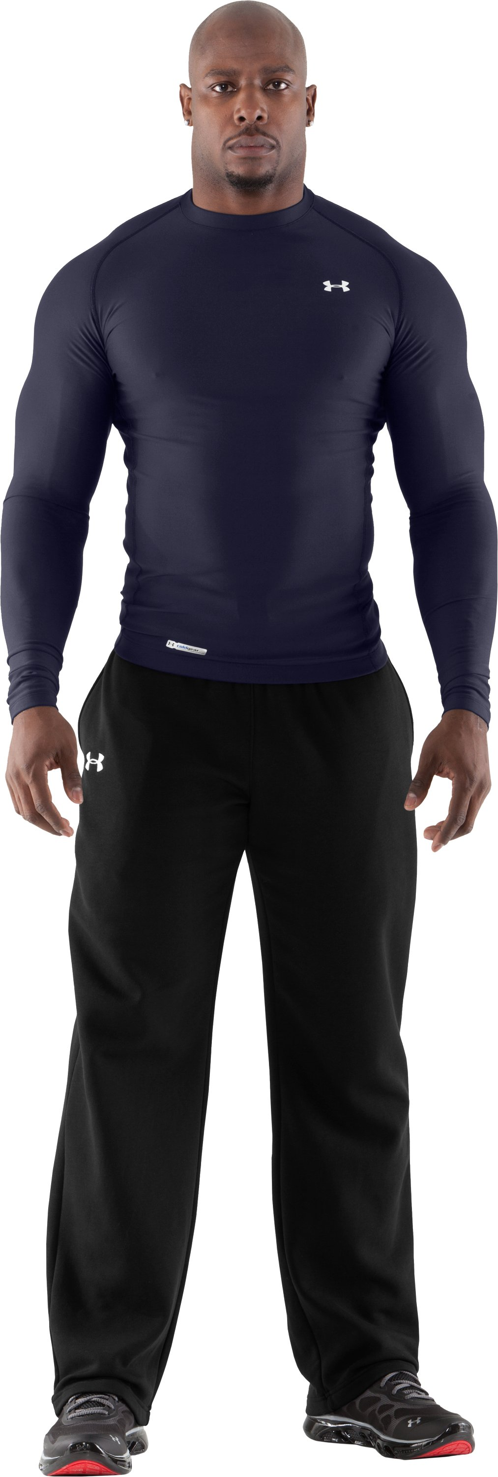 Men's ColdGear® Long Sleeve Compression Crew, Midnight Navy, Front