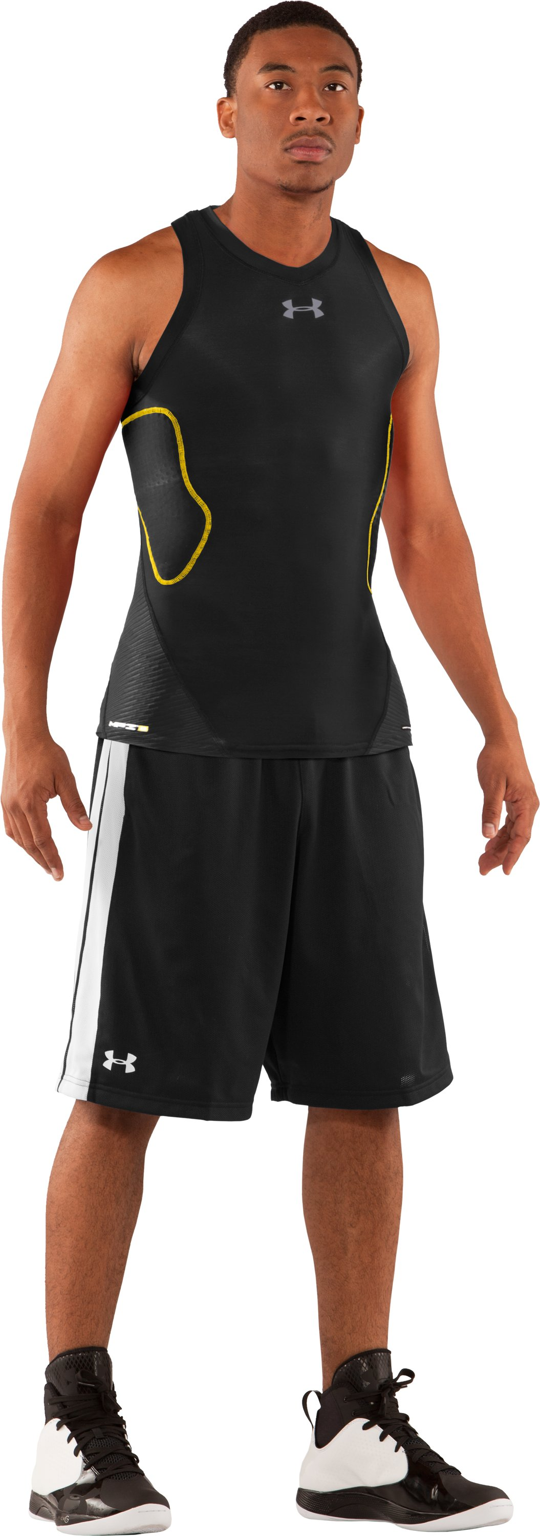 Men's Gameday Armour® Basketball Tank, Black , Front