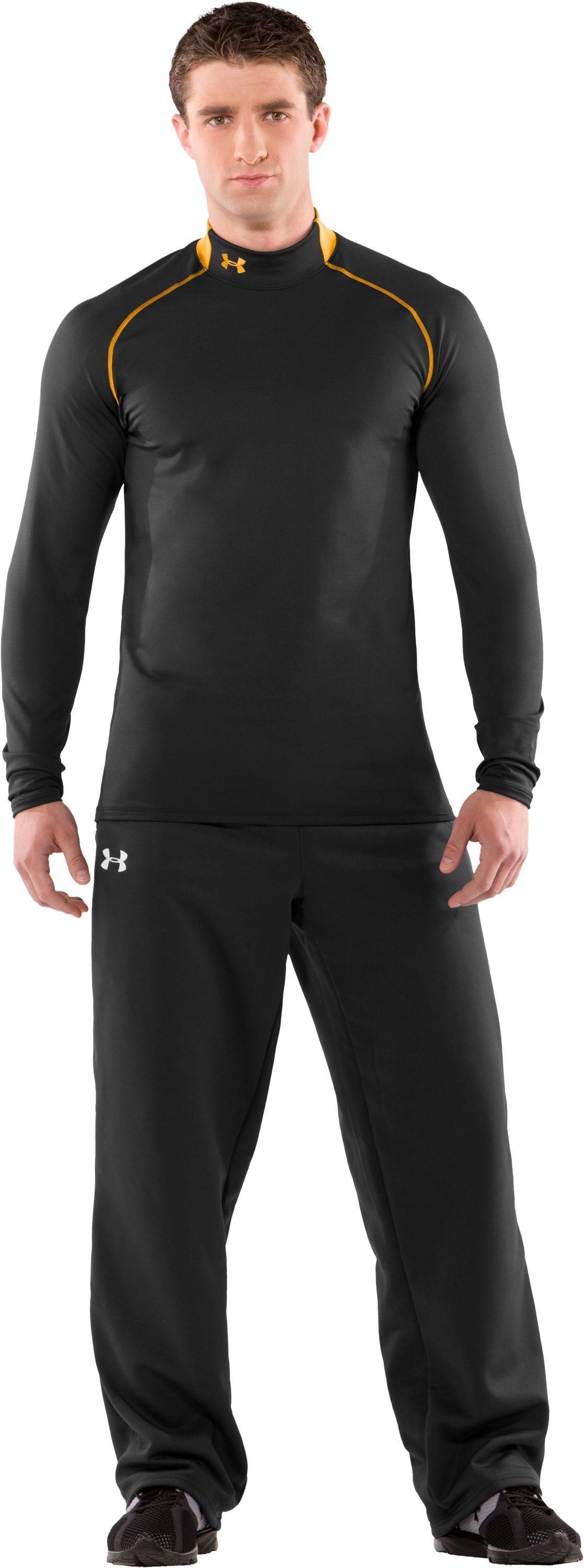 Men's ColdGear® Fitted Long Sleeve Team Mock II, Black , Front