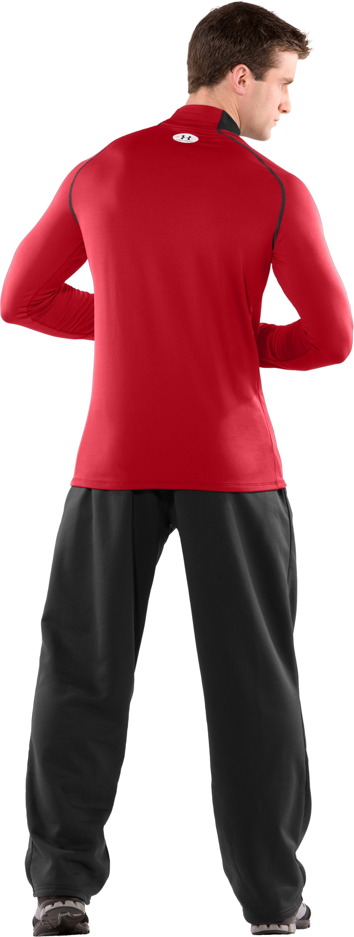 Men's ColdGear® Fitted Long Sleeve Team Mock II, Red, Back