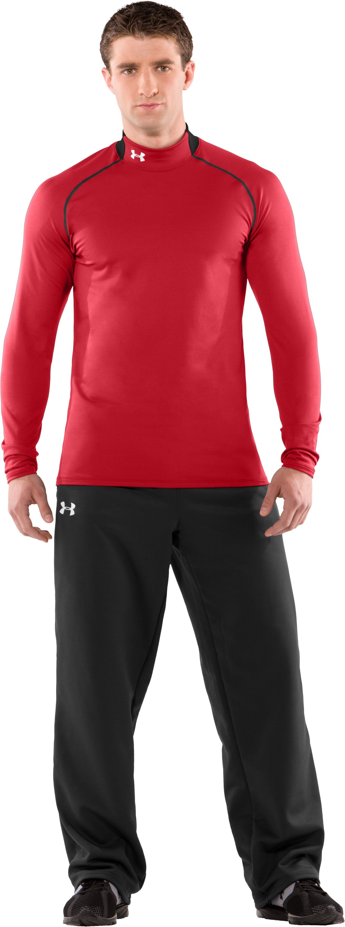 Men's ColdGear® Fitted Long Sleeve Team Mock II, Red, Front