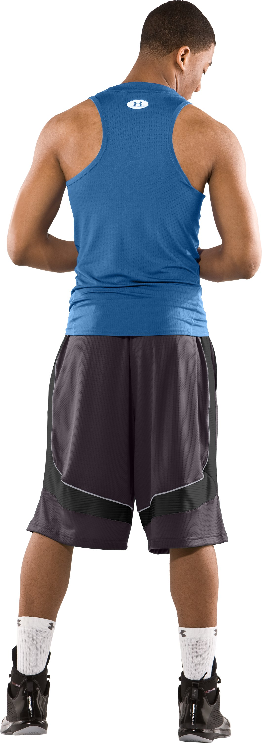 "Men's 12"" Flow Basketball Shorts, Charcoal, Back"