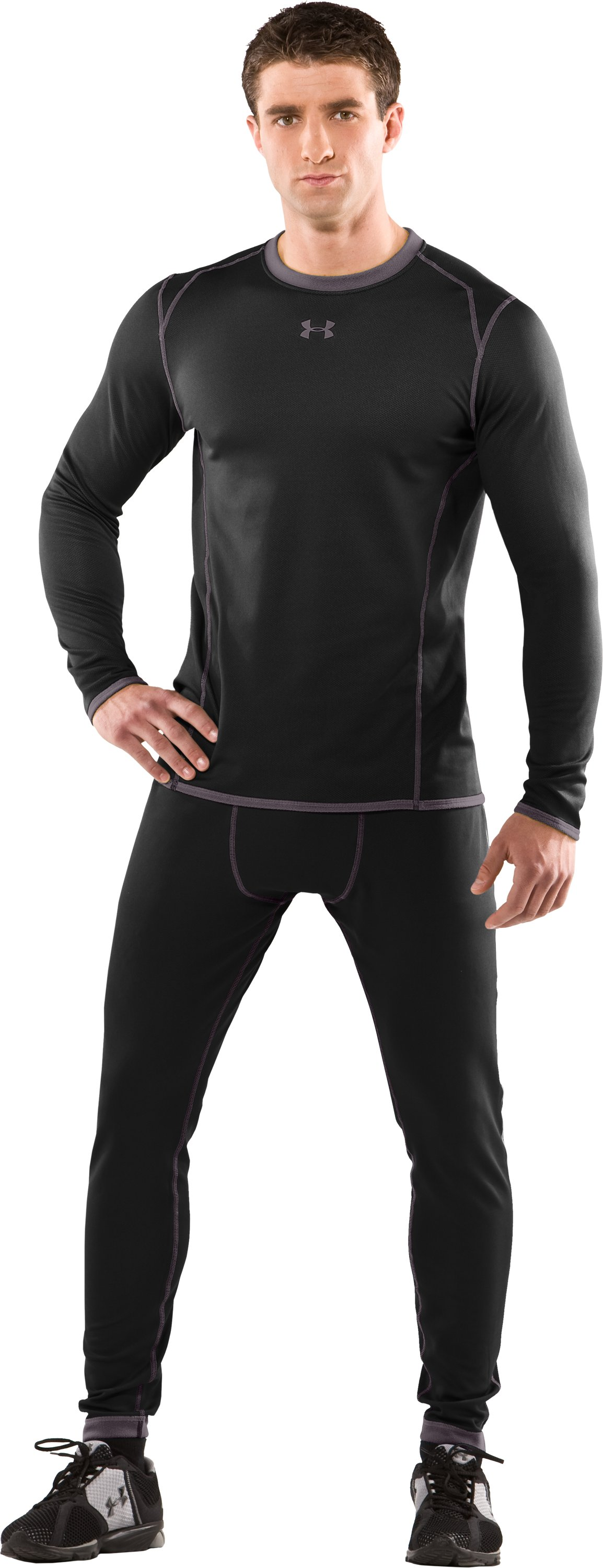 Men's ColdGear® Reversible Fitted Long Sleeve Crew, Black , Front