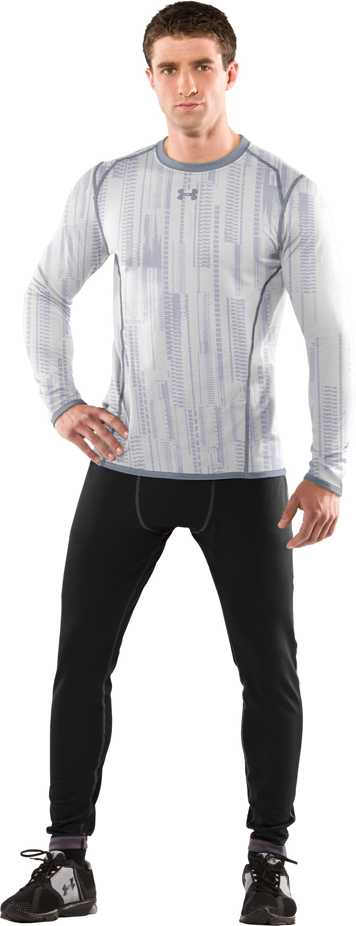 Men's ColdGear® Reversible Fitted Long Sleeve Crew, White, Front