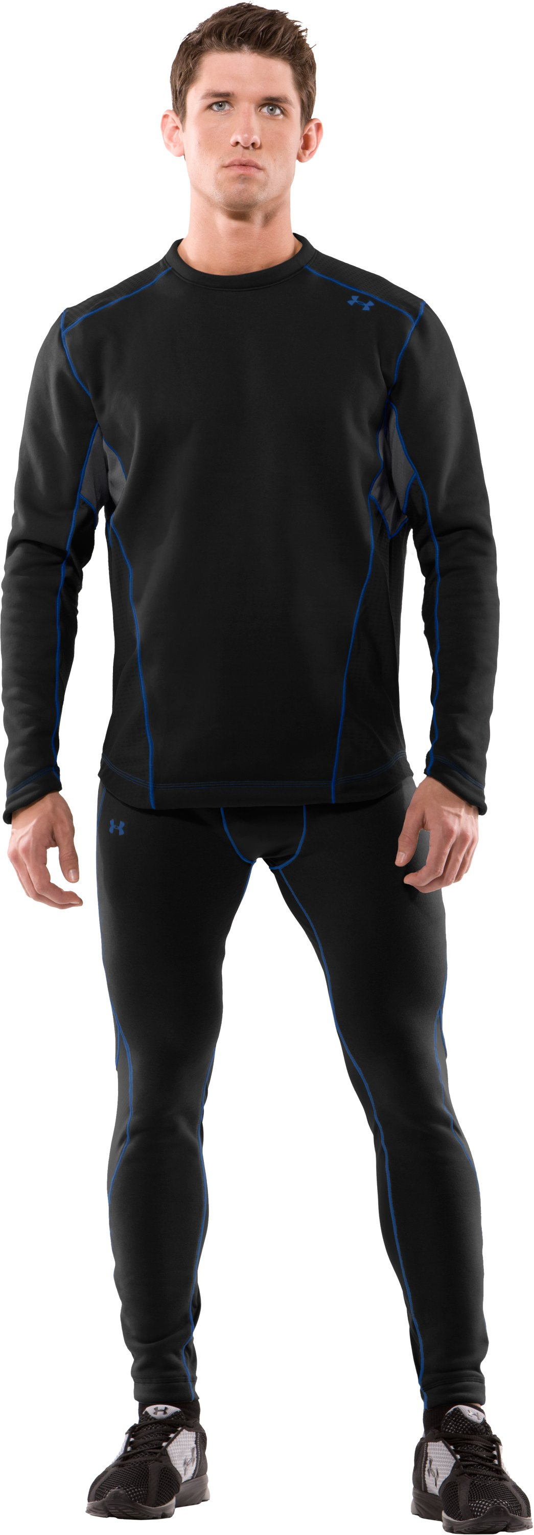 Men's Extreme ColdGear® Fitted Long Sleeve Crew, Black , Front