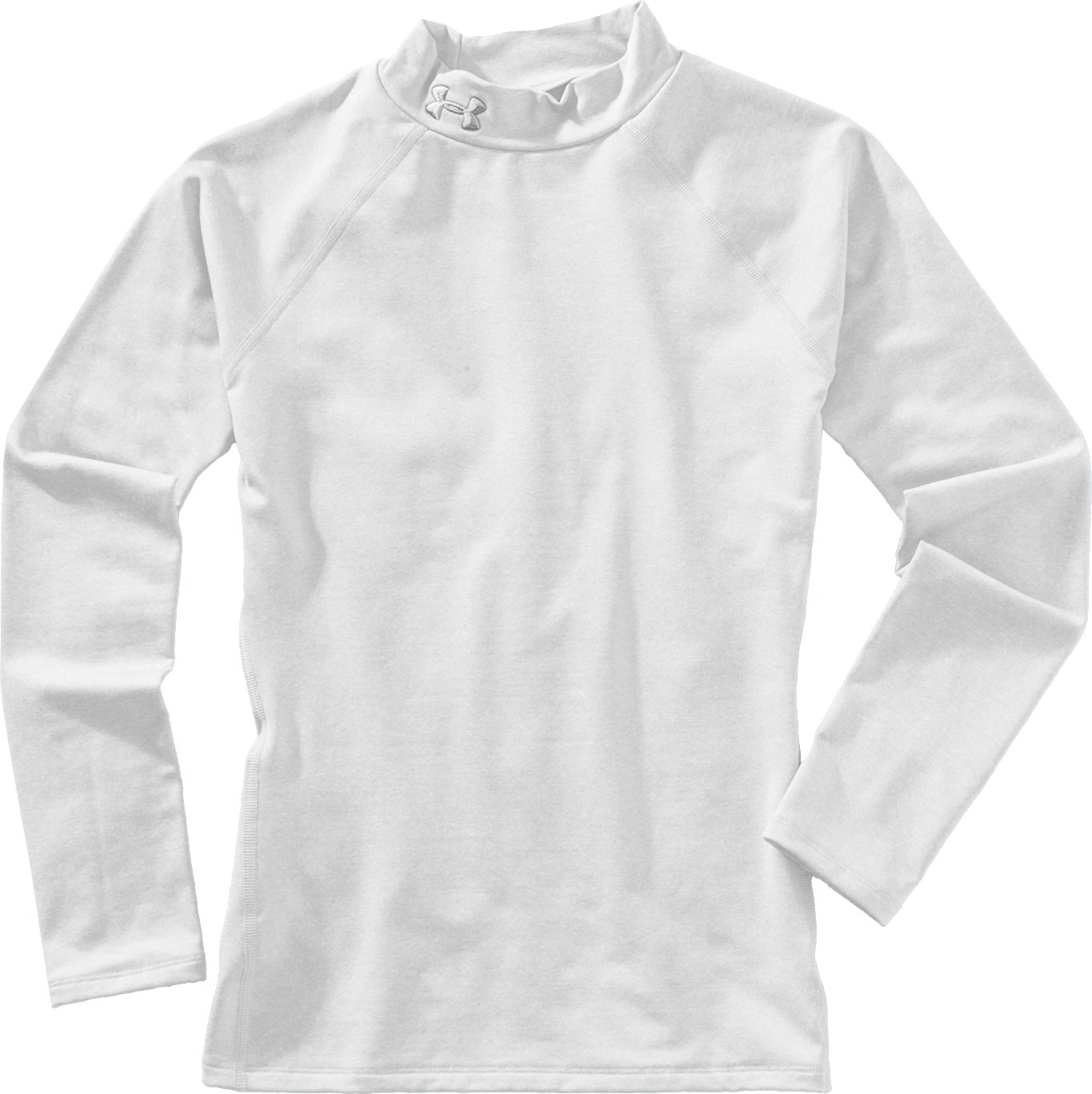 Girls' ColdGear® Fitted Long Sleeve Mock, White, Laydown
