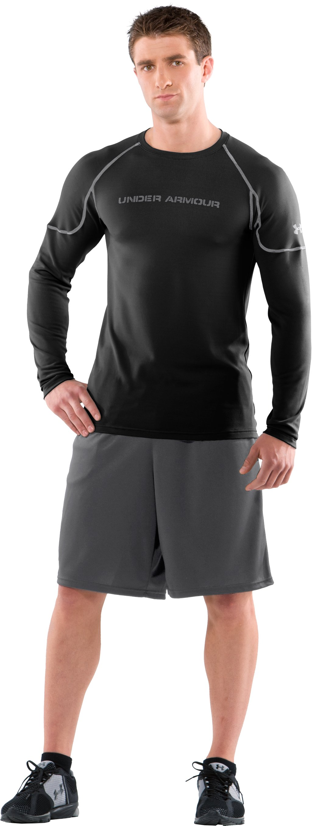 Men's AllSeasonGear® Fitted Crew II, Black , Front