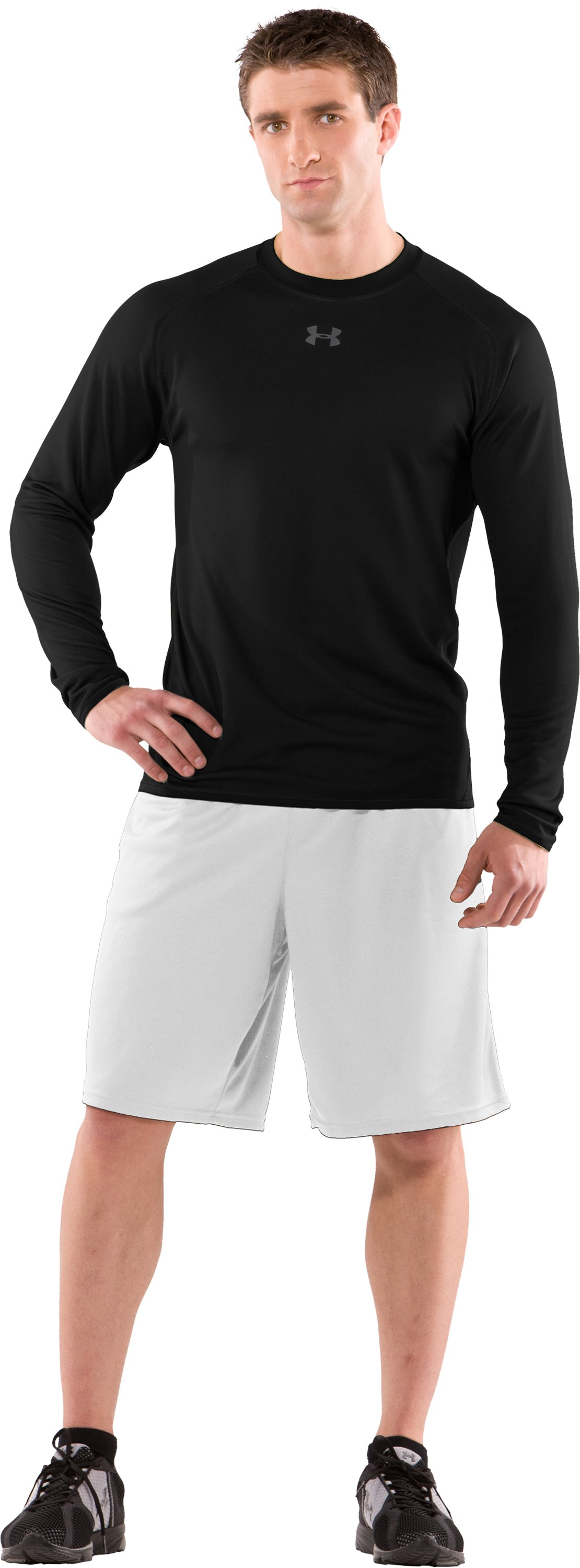 Men's AllSeasonGear® Reversible Long Sleeve Fitted Crew II, Black , Front