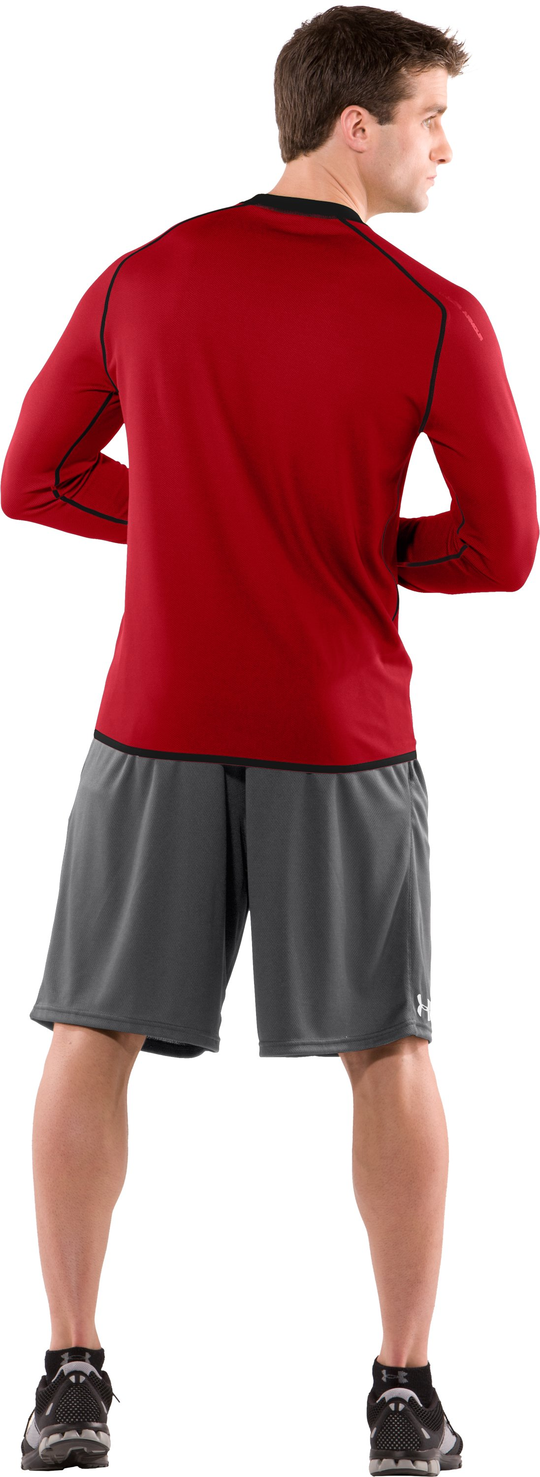Men's AllSeasonGear® Reversible Long Sleeve Fitted Crew II, Red, Back