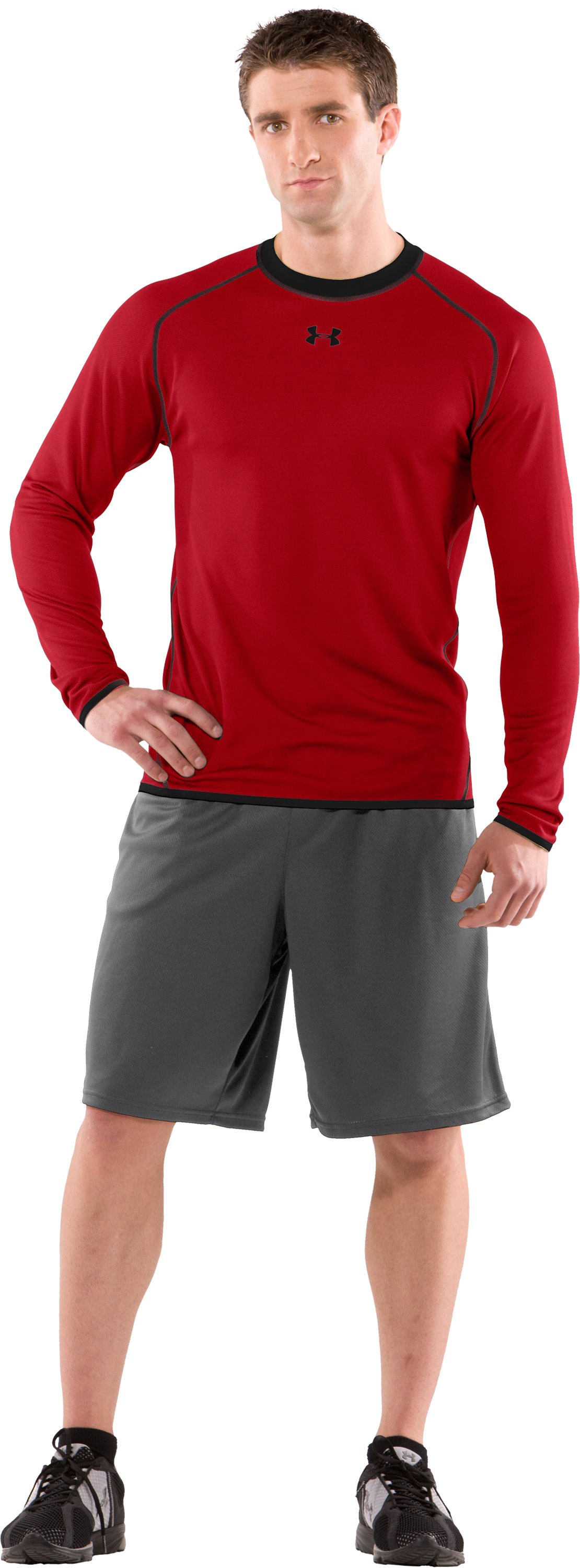 Men's AllSeasonGear® Reversible Long Sleeve Fitted Crew II, Red, Front