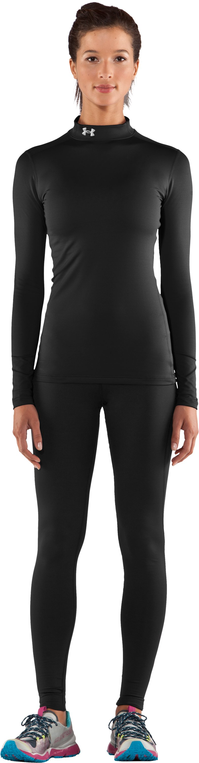 Women's UA ColdGear® Long Sleeve Compression Mock, Black , Front