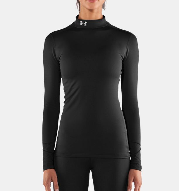 Women s ua coldgear long sleeve compression mock under for Under armour cold gear shirt mens
