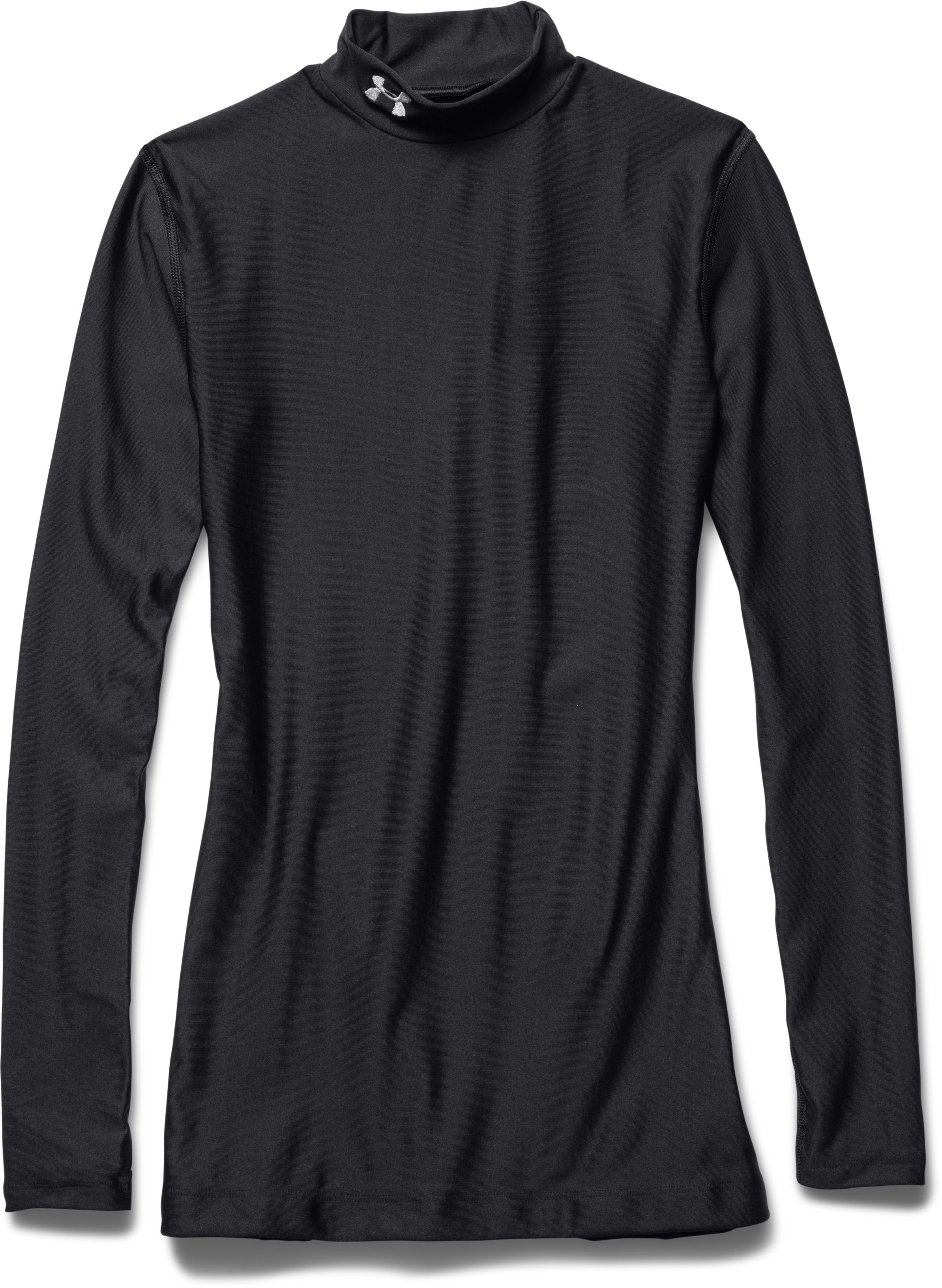 Women's UA ColdGear® Long Sleeve Compression Mock, Black , Laydown