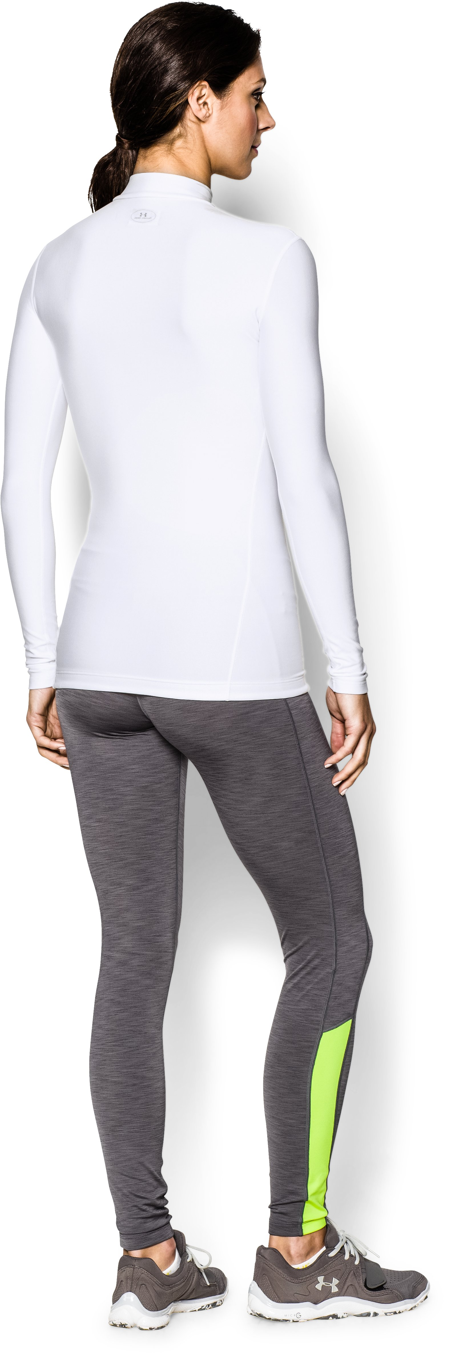 Women's UA ColdGear® Long Sleeve Compression Mock, White, Back