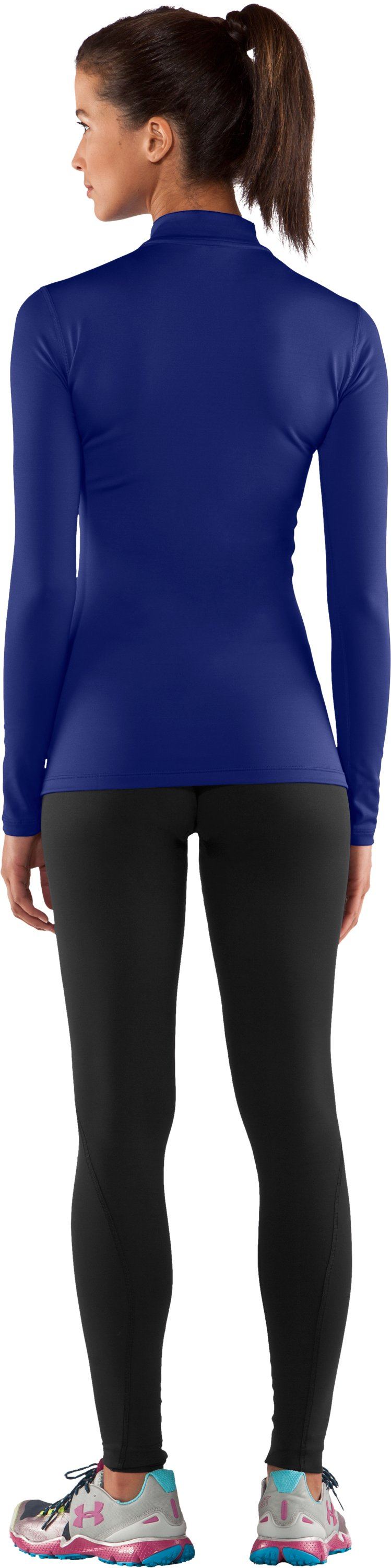 Women's UA ColdGear® Long Sleeve Compression Mock, Royal, Back