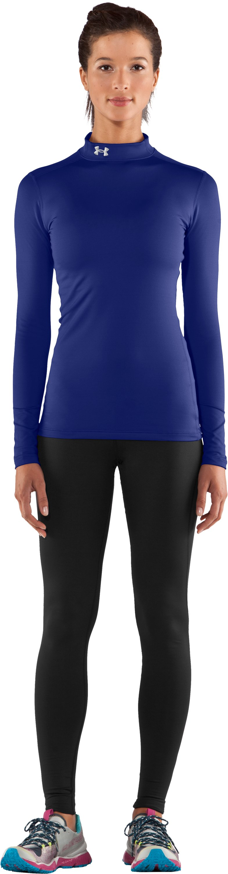Women's UA ColdGear® Long Sleeve Compression Mock, Royal, Front