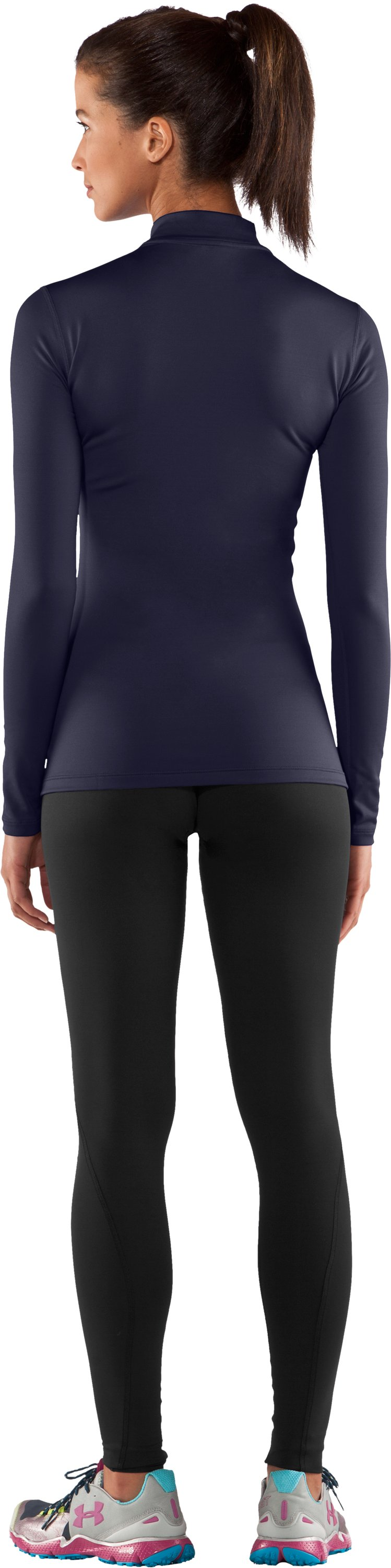 Women's UA ColdGear® Long Sleeve Compression Mock, Midnight Navy, Back