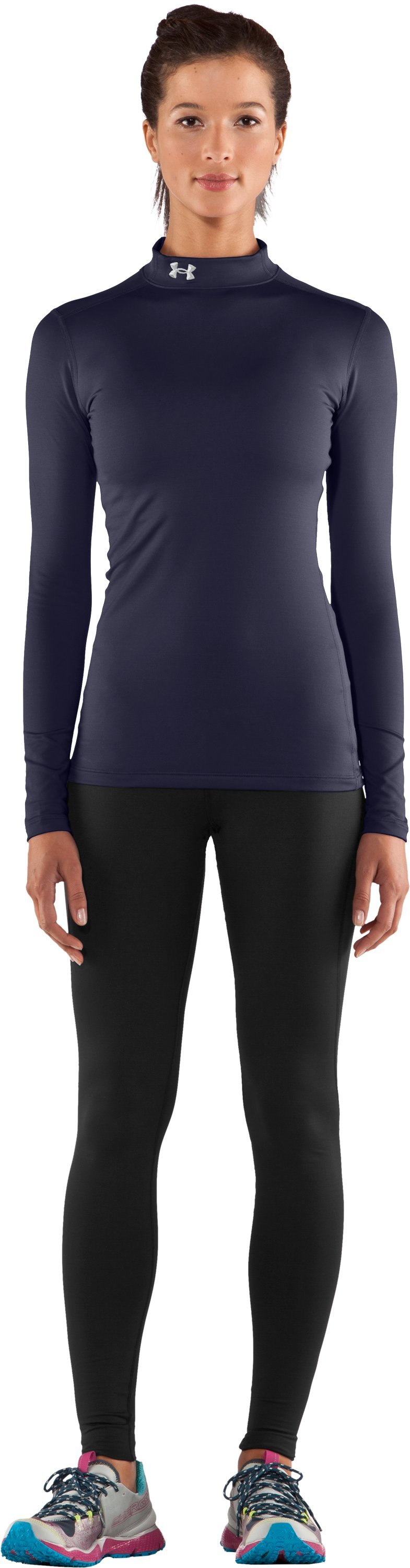 Women's UA ColdGear® Long Sleeve Compression Mock, Midnight Navy, Front