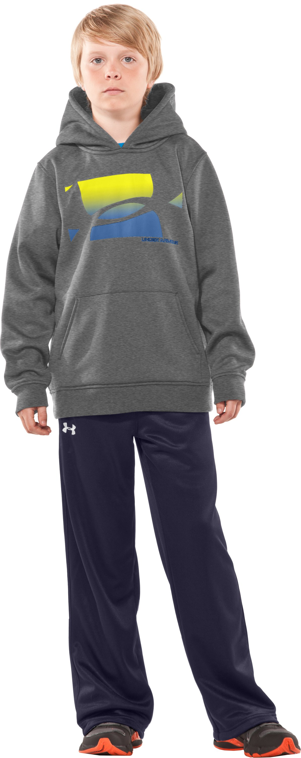 Boys' Armour® Fleece Fade Pullover Hoodie, True Gray Heather, zoomed image